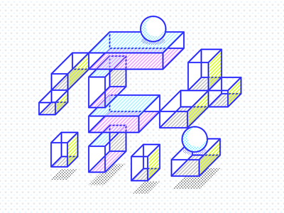 Psychedelic F letter f marble blocks ball cubes dots lines dizzyline interaction colors illustration 3d