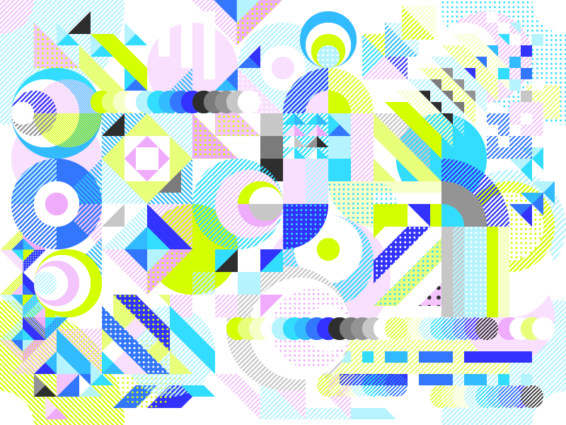 Decorative random pattern composed of colorful Dizzyline's brand elements - The color palette is expressed here in a totally free manner with elements overlaping and interacting with each oher.