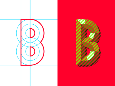 36daysoftype B lettermark illustration dizzyline color interaction mixing reflection gold typography 36daysoftype uppercase illusion color