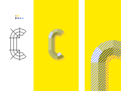 36daysoftype  C t letter illustration color hatches rayures lines hachures couleurs lettrage typograhy 36 days of type