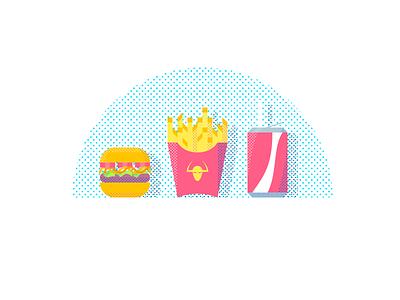 Fast Food Illustration montpellier sugar light cold hot fast drink food junk tasty frites burger