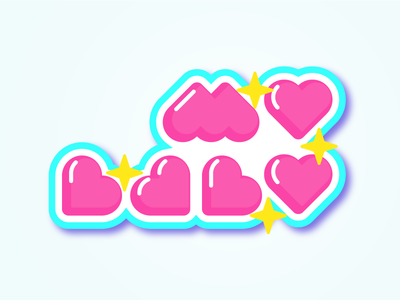 MY BABY - made with 💕- cute typography type illustration sticker star love baby heart