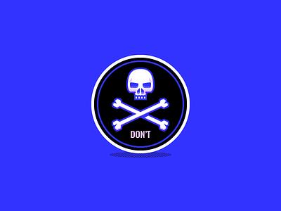 D O N ' T montpellier dizzyline cross head bones skull badge sticker