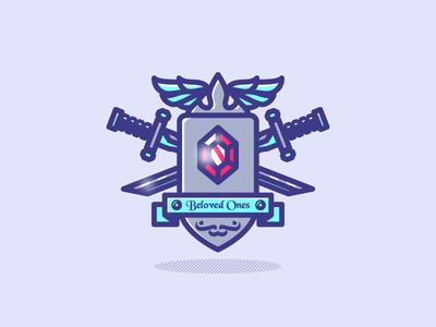 Crest illustration montpellier colors dizzyline badge ribbon wing crown sword ruby shield crest
