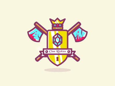 Another Crest illustration montpellier dizzyline color ribbon jewels gold shield blood axe crown crest