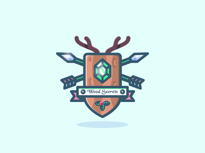 One More Crest montpellier illustration dizzyline color emerald arrow ribbon fruit leaf deer wood shield crest