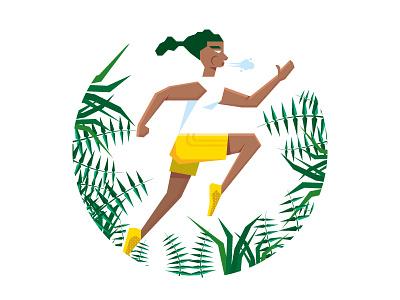 Running In Nature Illustration poster montpellier dizzyline colors effort organic plant outdoor breathe health sport running run