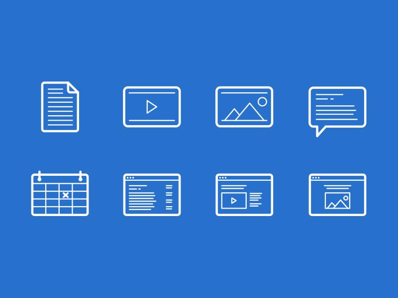 Icons on Blue web icons blue