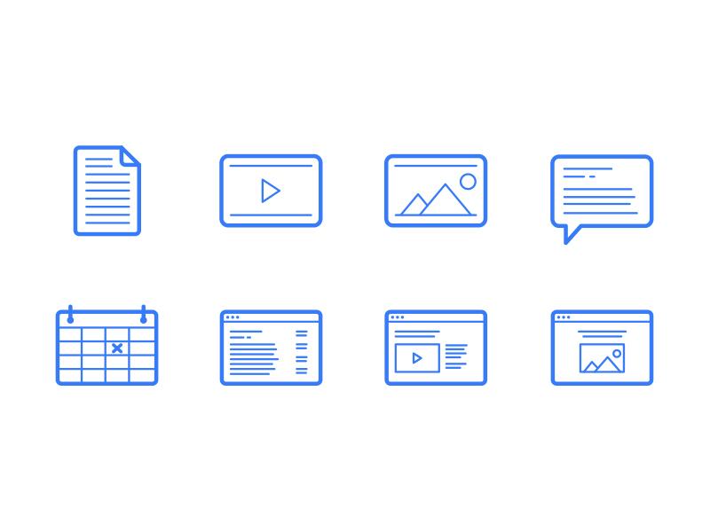 Icons on White blue icons web