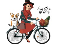 Bicycle Hipster Girl