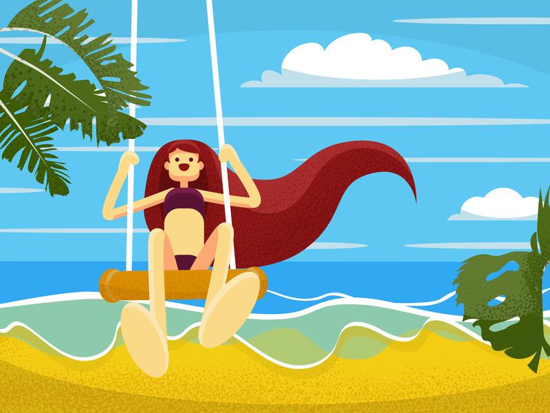 Swing swing beach noise flat summer girl character design illustration vector
