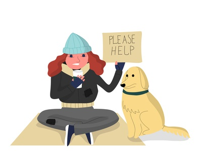 Homeless woman with a dog