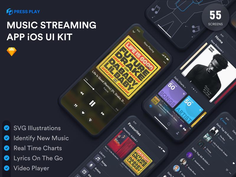Music Streaming iOS Free UI Kit free download music player music freebies figma sketch music app free ui kit uiux design