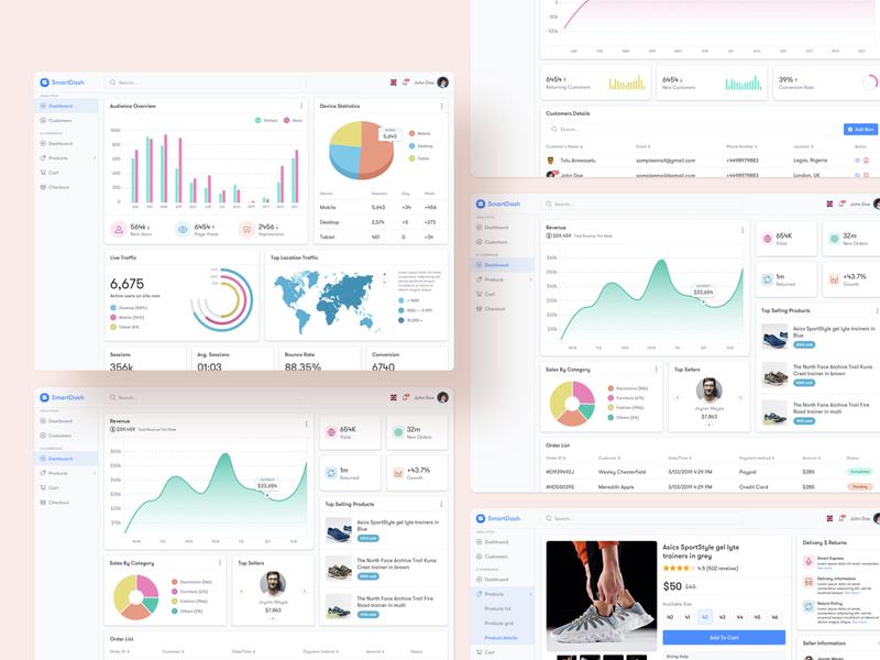 SmartDash  eCommerce UIkit free download ecommerce graphical illustrations graphs free ui dashboard design dashboard ui analytics dashboard logo freebie free ui kit uiux design ui