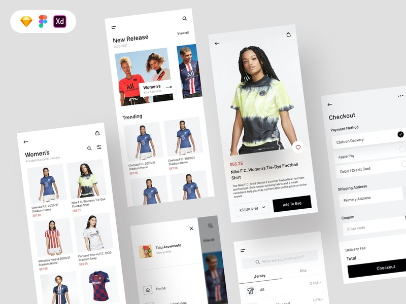 Jersey Shop Free UI Kit figma sketch concept design ux free download freebie ui design free ui kit uiux design jersey shopping cart checkout shop