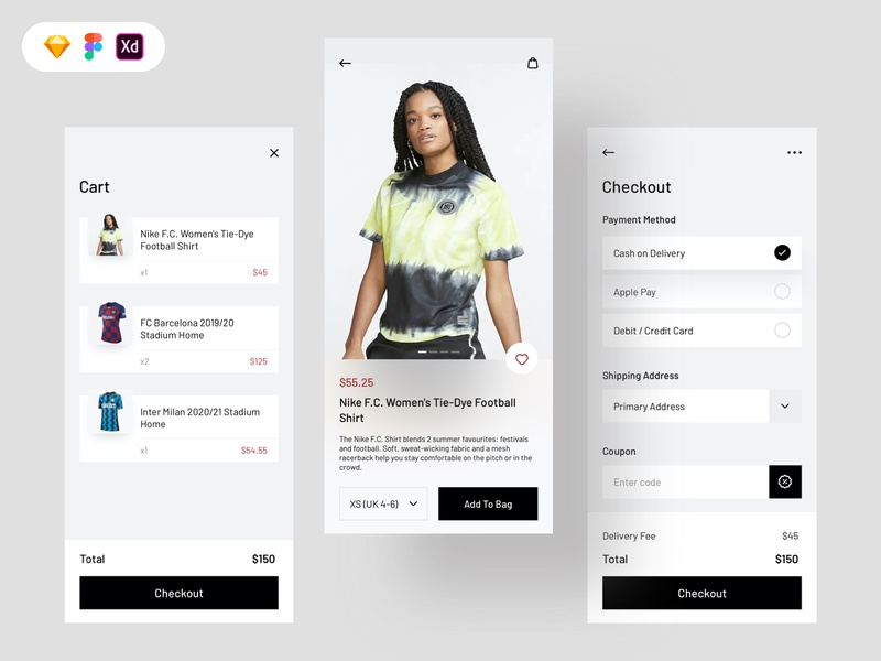 Jersey Shop Free UI Kit figma xd sketch shopping product cart checkout shop icon app concept ui uiux design design ux free download freebie ui design free ui kit