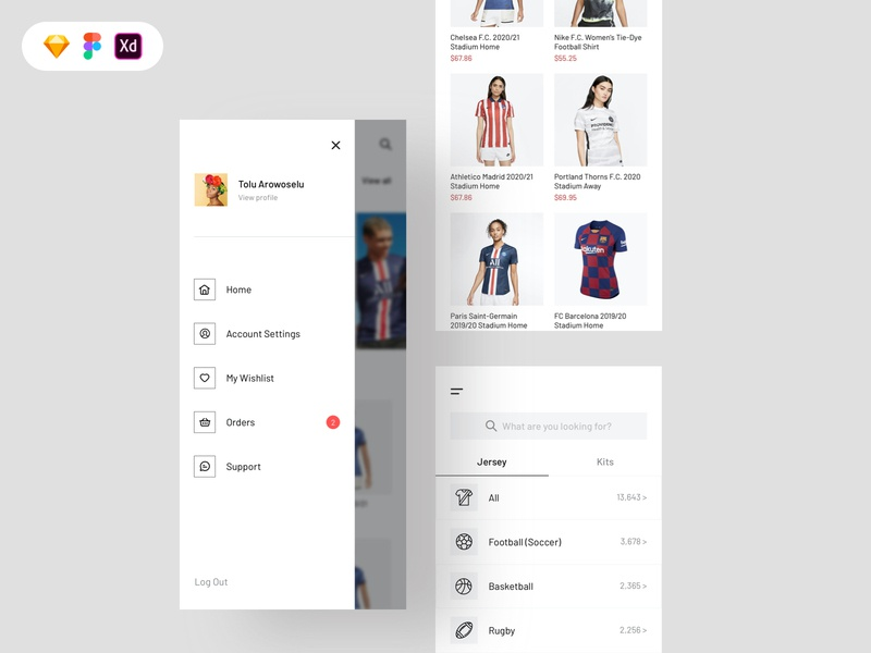 Jersey shop free ui kit cartoon filters ecommerce product blur hamburger menu menu uiux icon app concept design ux free download freebie ui design free ui kit uiux design