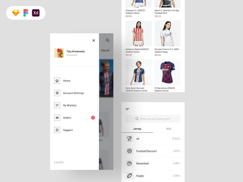 Jersey shop free ui kit cartoon filters ecommerce product blur hamburger menu menu uiux icon app concept design ux free download freebie ui design free ui kit uiux design