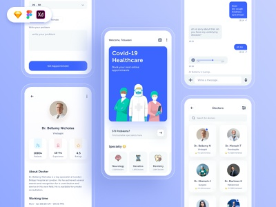 Doctors Appointment Free UI Kit free doctor appointment doctor app icon app concept design ux ui free download freebie ui design free ui kit uiux design