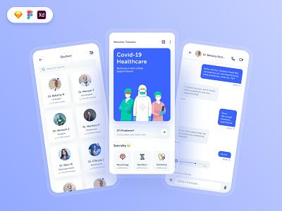 Doctors appointment ui kit appointments booking doctors messaging cards icon app concept design ux ui free download freebie ui design free ui kit uiux design