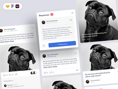 UI Components: Preview Cards Free instagram post stories social media dog icon app concept design ux ui free download freebie ui design free ui kit uiux design