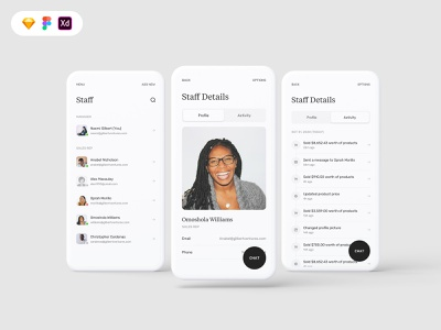 Business To Customer (B2C) Mobile UI Template best shot mobile activities profile staff circular buttons round buttons white space minimalism minimalist b2b b2c arotec gumroad ui8 ui kit goods for sale ui template ui uiux design
