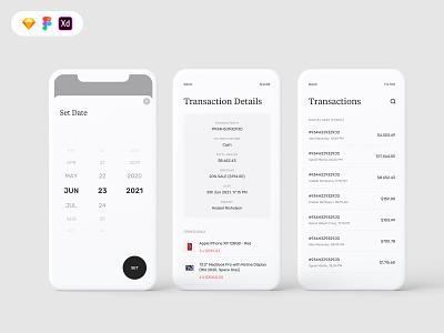 Transactions screen for B2C mobile UI arotec apple circule button minimal clean funnel date picker transaction filter date uiux design freebie logo design