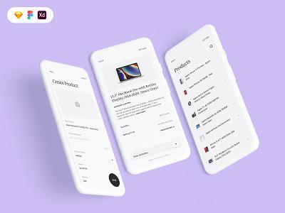 Product screens for B2C mobile UI minimal button arotec clean concept design ui kit airpod iphone image apple macbook product uiux design