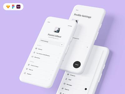 More screens from the B2C mobile UI mobile minimal modern settings profile hamburger menu menu ui design uiux design