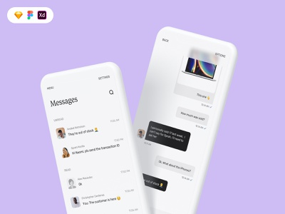 Messaging screens for business to customer UI b2c chatbot white menu blur inbox chat message