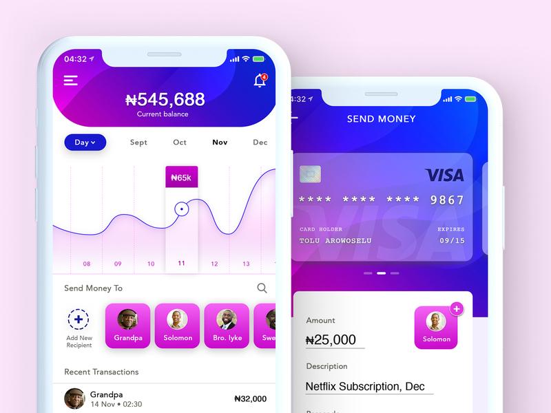 UI concept for a personal wallet app. gradients statistics app finance app money debit card wallet app wallet app concept ux uiux app uiux design ui design ui