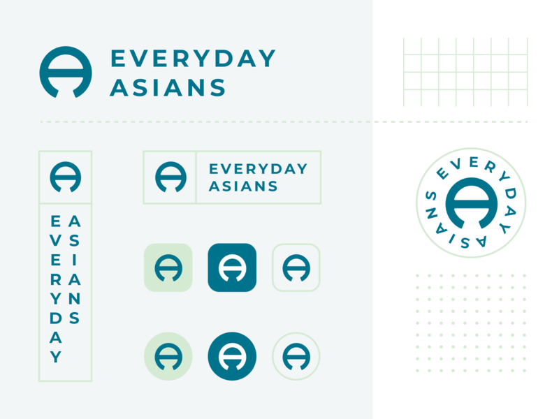 Everyday Asians Logo guidelines styleguide guide colors identity brand mark clean grid pastels logo