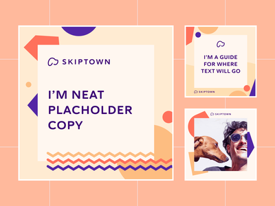 Skiptown Social Media Templates facebook branding confetti shapes playful guidelines social media templates social media instagram