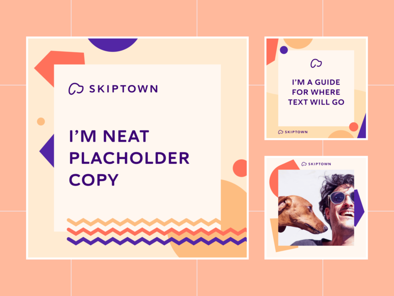Skiptown Social Media Templates facebook branding confetti shapes playful guidelines social media templates social media instagram