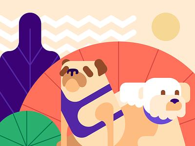 National Dog Day shapes nature outside sun dogs flat graphic illustraion
