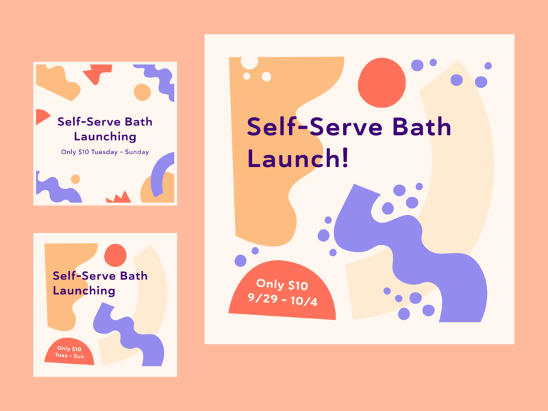 Skiptown Self-Serve Bath Launch abstract branding marketing graphic flat socialmedia process