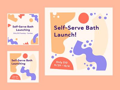 Skiptown Self-Serve Bath Launch abstract branding marketing graphic flat socialmedia process