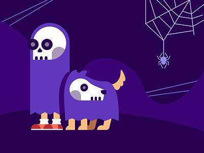 Spooky Walks costume walk night spider dog graphic illustration purple halloween spooky