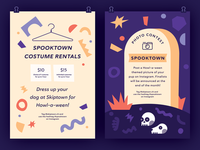Skiptown Halloween Posters dog dogs print branding marketing flat contest event illustration graphic halloween shapes posters