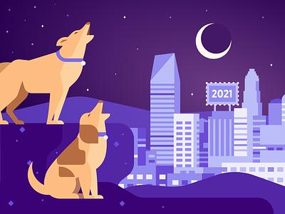 Howling socialmedia purple night city dog graphic flat illustration