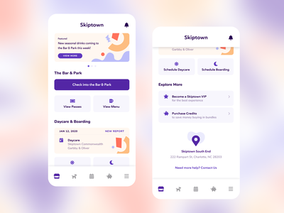 Skiptown Mobile App ui home screen purchase services checkin scheduler dogs react native ios app mobile