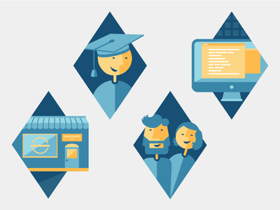 Blue Icons graduation icons blue it store