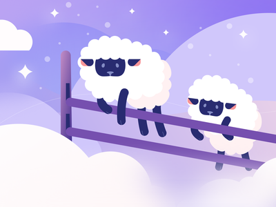 Counting sheep night stars sleep dreaming clouds sheep branding flat illustration