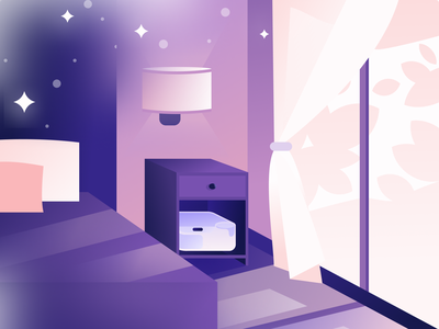 Dreamy bedroom room dreaming stars night bedroom branding flat illustration