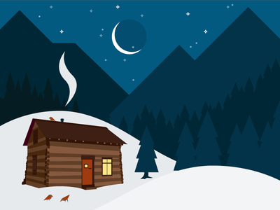 Snowy Cabin trees holidays mountains night cabin snow
