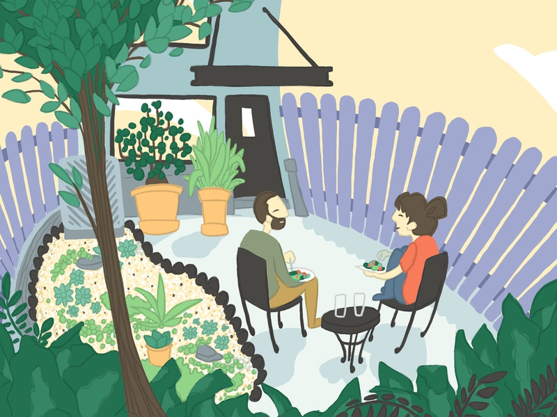 Patio Weather drawing graphic plants picnic house home sunny sunny day patio garden couple people figures illustration