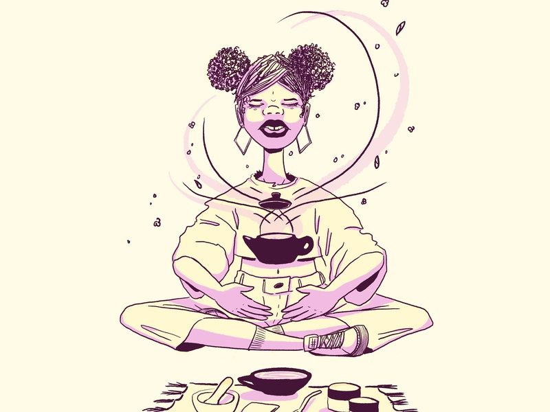 Tea Maker drawing graphic cup brew magic sharing teapot tea figure girl woman cintiq wacom illustration