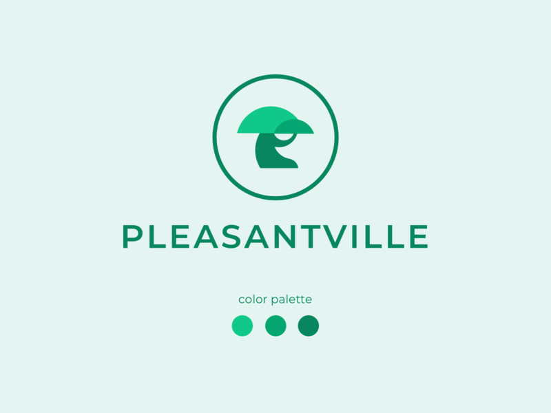 Pleasantville Logo tree graphic flat visual identity logo brand illustration branding brand identity brand