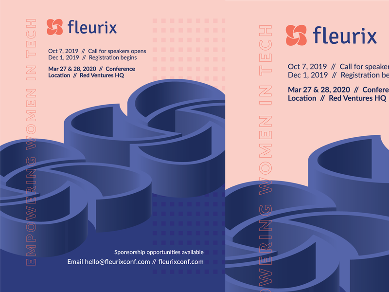 Fleurix Save the Date postcard empower build blue pink illustrator 3d graphic design tech poster conference women