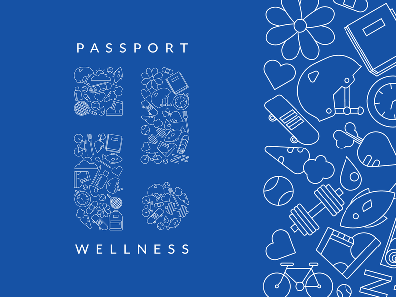 Wellness blue graphic flat health fitness wellness logo illustration icons linear